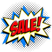 Comics Style Sale Tag. Red Sale Web Banner. Pop Art Comic Sale Discount Promotion Banner. Big Sale Background. Decorative Background With Bomb Explosive. Comics Pop-art Style Bang Shape On Halftone