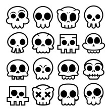Halloween Vector Cartoon Skull...