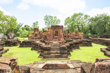 View Of Ku Ka Sing Public Ruin Ancient Castle Rock Temple In Roi Et Thailand