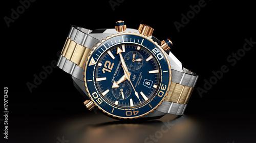 Fotografía  Golden wrist watch isolated on black background