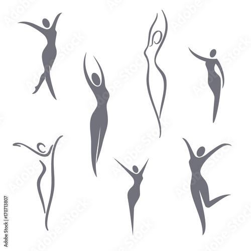 Fotografie, Obraz  Vector logo design elements. Young girl set