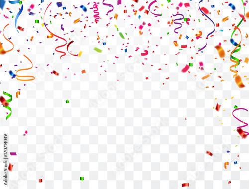 Obraz Colorful celebration background with confetti. - fototapety do salonu