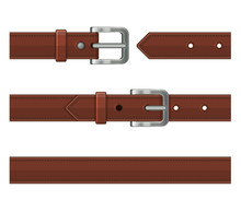 Seamless Brown Leather Belts Set. Vector