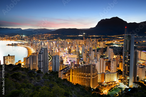 Benidorm Lights at Sunset, Alicante Province, Spain