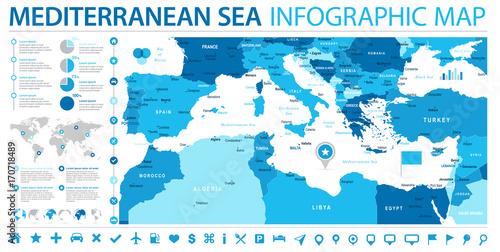Fotografía  Mediterranean sea Map - Info Graphic Vector Illustration