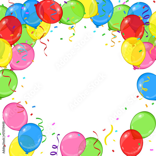 Vector Cartoon Balloons Streamers And Confetti Frame For Your