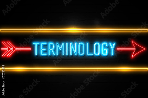 Terminology  - fluorescent Neon Sign on brickwall Front view Canvas Print
