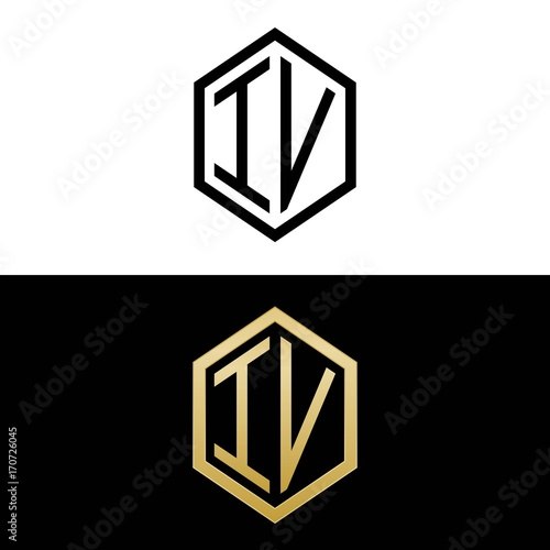 Initial Letters Logo Iv Black And Gold Monogram Hexagon