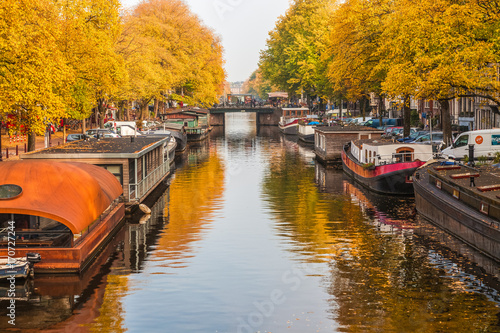 Foto op Canvas Herfst beautiful canals in Amsterdam in autum, Holland
