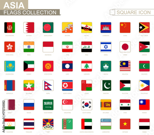 Square flags of Asia. From Afghanistan to Yemen. Canvas Print