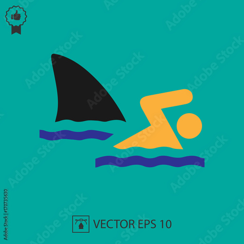Shark Attack Vector Icon Eps 10 Fish Fin And Swimmer Symbol Simple