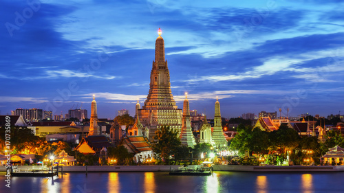 BANGKOK, THAILAND - AUGUST 25, 2017: Main pagoda of Temple of Dawn or Wat Arun after renovation at twilight. Located on the west side of Chao Praya River