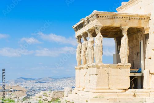 Fotobehang Athene details of Erechtheion temple in Athenian Acropolis, Athens Greece