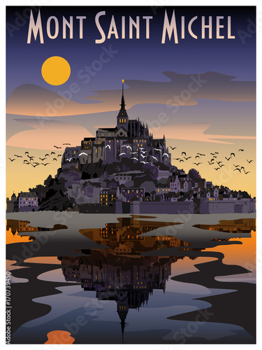 The Abbey of Mont St-Michel at night, Normandy, France Canvas-taulu