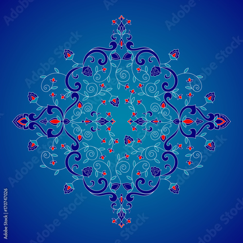 Iznik symbol for royal turkish wedding invitation, indian save the date card, yoga wallpaper or moroccan beauty salon flyer.