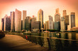 Singapore city skyline of business district downtown at sunset. Vintage tone