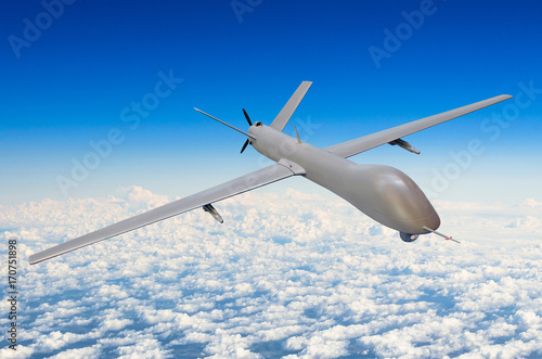 Photo  Unmanned military aircraft background blue sky clouds