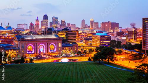 Photo  Kansas City, Missouri Skyline at Night (logos blurred)