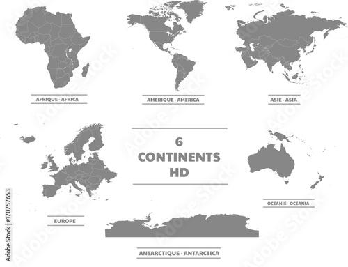 Fotografía  Cartes des 6 continents en haute définitions