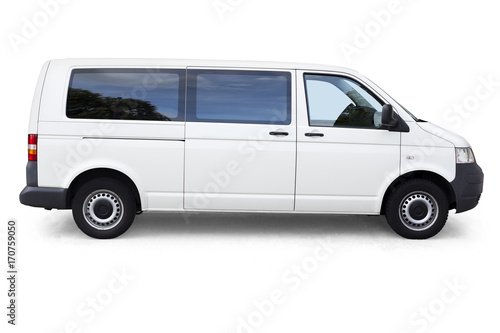 White van with windows on white background isolated with clipping path Canvas-taulu