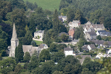 An Overview Of Woodchester And St Marys Church From Amberley Gloucestershire England UK Over The Nailsworth Valley. August 2017
