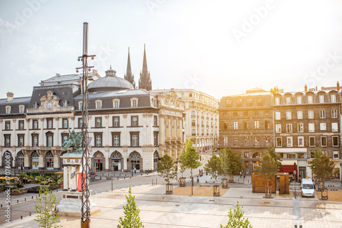 Fotografie, Obraz Top view on the Jaude square during the morning light in Clermont-Ferrand city i