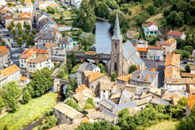 Aerial Cityscape View On Saint Flour Town In Cantal Region In France