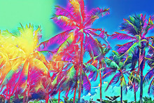 Tropical Landscape With Palm Trees. Tropical Nature Neon Digital Illustration.