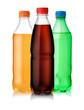 Three plastic bottles of soft drink