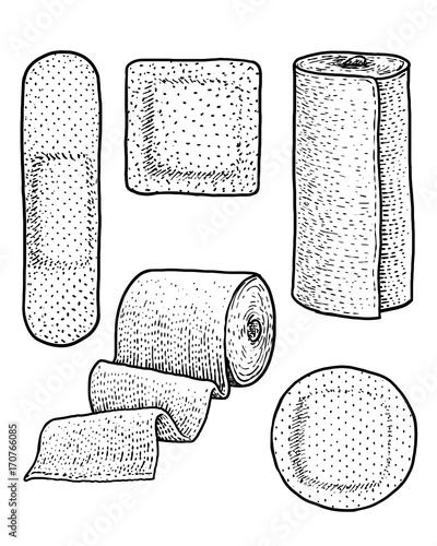 Plaster, bandage, illustration, drawing, engraving, ink