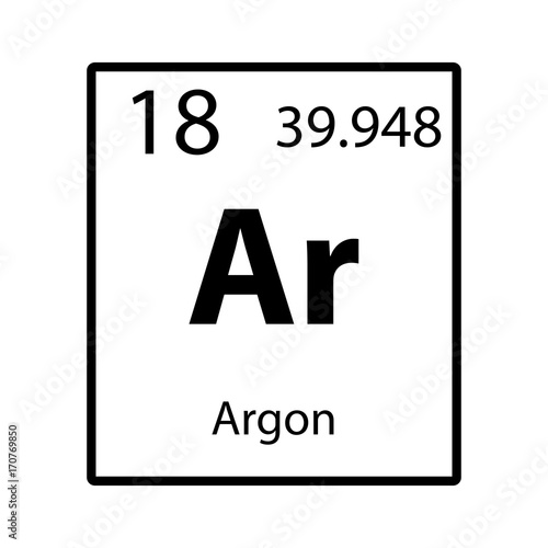 Argon periodic table element color icon on white background vector Wallpaper Mural