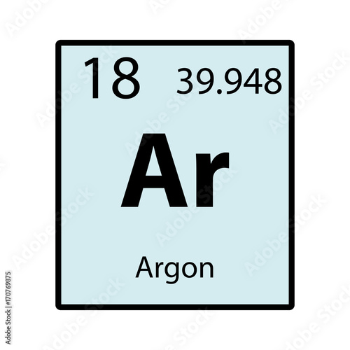 Photo Argon periodic table element color icon on white background vector