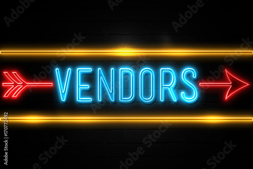 Fotografering  Vendors  - fluorescent Neon Sign on brickwall Front view