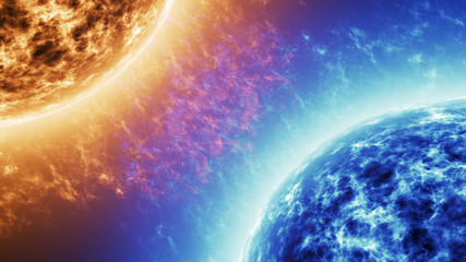 Blue star Vs Red star. Red Sun surface with solar flares against Blue sun isolated on black. Highly realistic sun surface with space for your text or logo