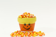 Candy Corn Halloween Fall Colors Isolated On White Background