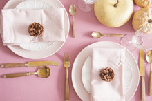 Pink Fall/autumn Table Settings