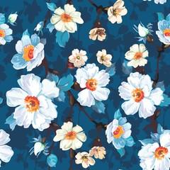 FototapetaBlue Floral Seamless Pattern