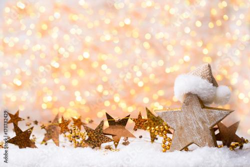 Plakat Bożenarodzeniowy kartka z pozdrowieniami z boże narodzenie złocistymi dekoracjami.