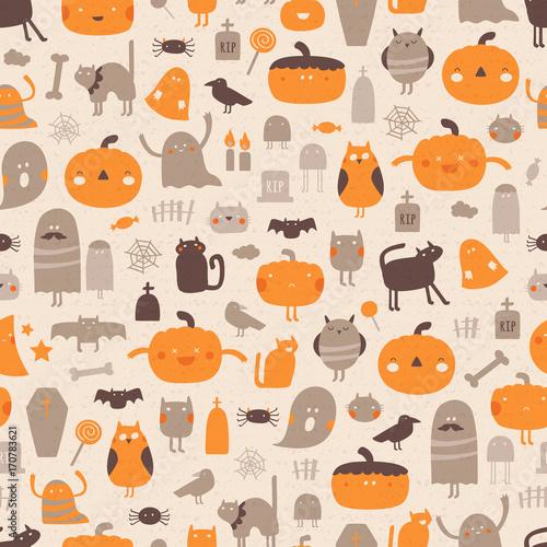 Materiał do szycia Halloween tło. Wektor wzór na Halloween