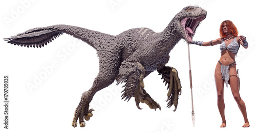 Photo  3D rendering of an adult male Dakotaraptor standing next to a primitive cave woman for scale