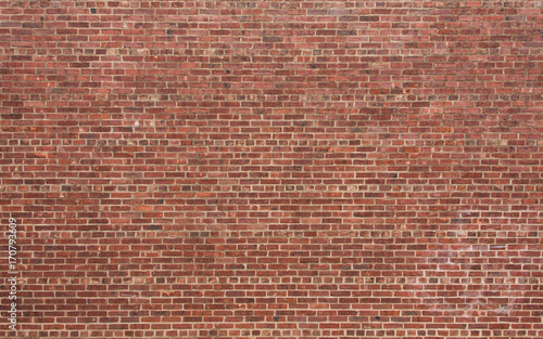 Fotobehang Baksteen muur Red Brick Wall with Horizontal Pattern