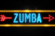 Zumba  - fluorescent Neon Sign on brickwall Front view