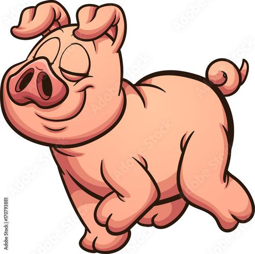 Fotografie, Obraz  Proud cartoon pig walking