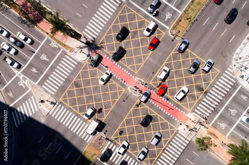 Fotografie, Obraz  Top View of Many Cars Crossing