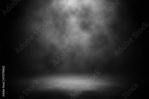 Fototapety, obrazy: White spotlight spotlight on brick floor background.