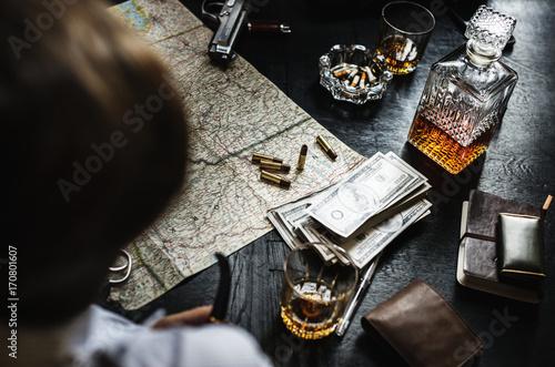 Papiers peints Affiche vintage People with a gun, map, alcohol, cigarette