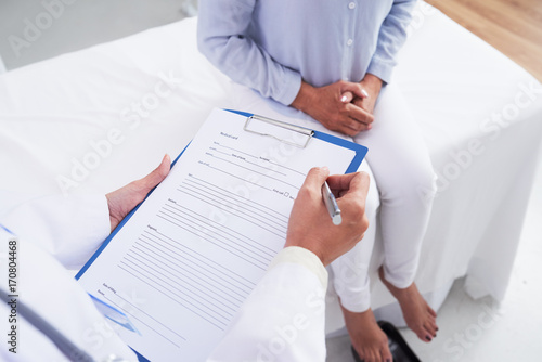 Filling medical paper Canvas Print