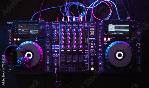 Mixer euipment entertainment DJ station Wallpaper Mural