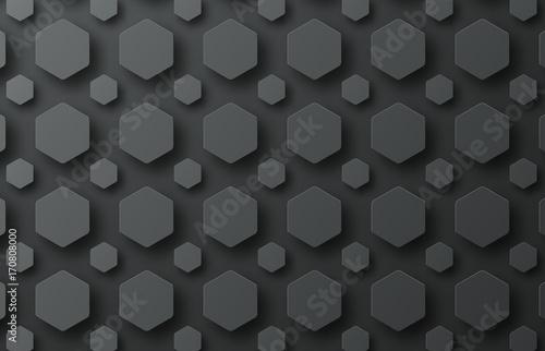 Obraz na płótnie czarne tło z sześciokątami