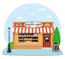 Bakery Shop Front Veiw Flat Icon.